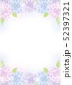 紫陽花のフレーム 3色の花と葉 縦構図 52397321