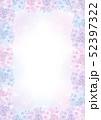 紫陽花のフレーム 3色の花とグラデーション背景 縦構図 52397322