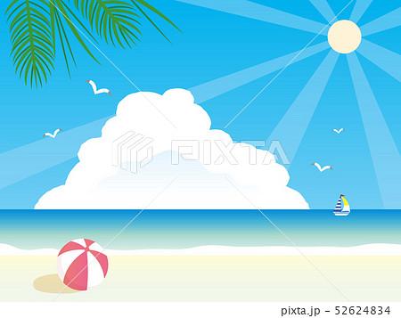 夏 綺麗なビーチの風景イラストのイラスト素材
