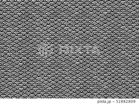 和紙、和柄、背景素材、壁紙、青海波、せいがいは、波の模様、黒 52882809