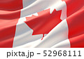 Waved highly detailed close-up flag of Canada. 3D illustration. 52968111