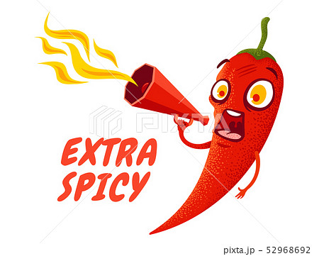 Cartoon chili pepper with red megaphone 52968692