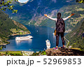 Geiranger Fjord Beautiful Nature Norway. 52969853