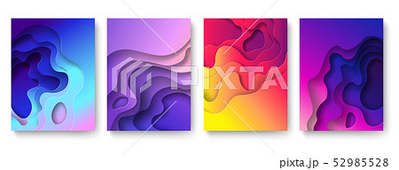 Abstract paper cut background. Cutout fluid shapes, color gradient layers. Cutting papers art 52985528
