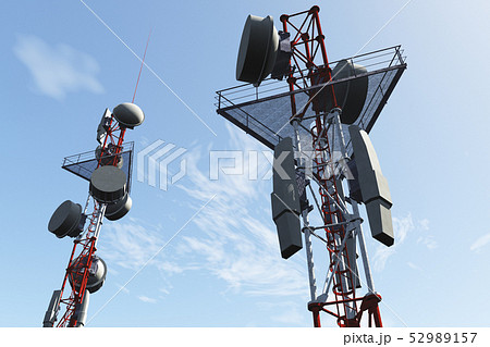 5G Telecommunication Tower under Blue Sky 3D Illus 52989157
