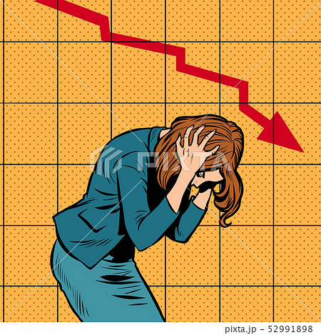 businesswoman woman panic, bankruptcy financial collapse. sales schedule down 52991898