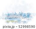 お台場から見た都市風景 水彩画風 52998590