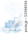レインボーブリッジと高層マンション 水彩画風 52998594