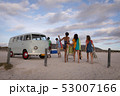 Group of friends come back from beach to join their camper van  53007166