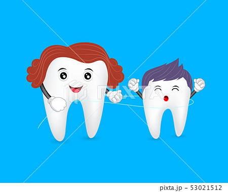 tooth character cleaned by dental floss.  53021512