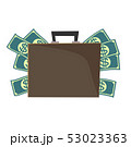 Vector suitcase with money. 53023363