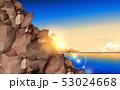 海 岩 朝焼けのイラスト 53024668