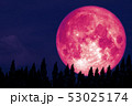 Full Rose Moon back on silhouette pine on night 53025174