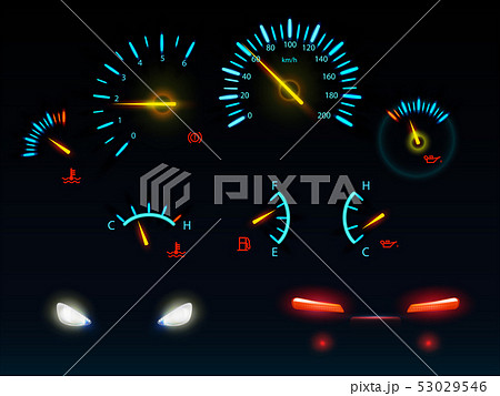 Car glowing indicators and headlights vector set 53029546