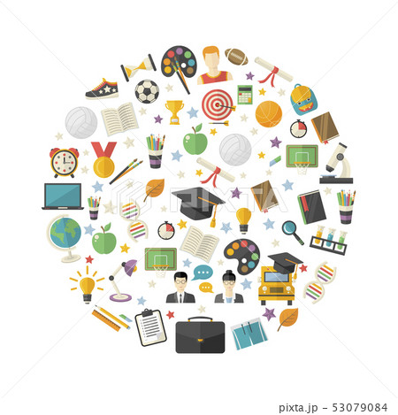 Education,knowledge icon set in circle 53079084