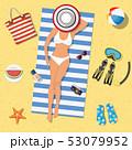ビーチ 浜辺 夏のイラスト 53079952