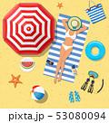 ビーチ 浜辺 ビキニのイラスト 53080094
