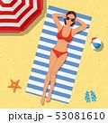 ビーチ 浜辺 ビキニのイラスト 53081610