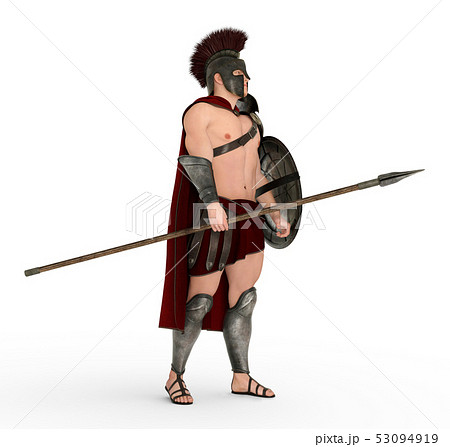 Hoplite soldier against a white background 53094919