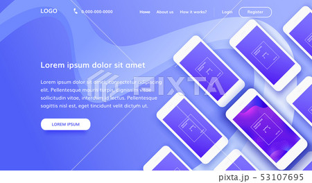 Landing page concept with mobile phones 53107695