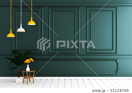 Empty luxury room interior with dark green wall 53128769