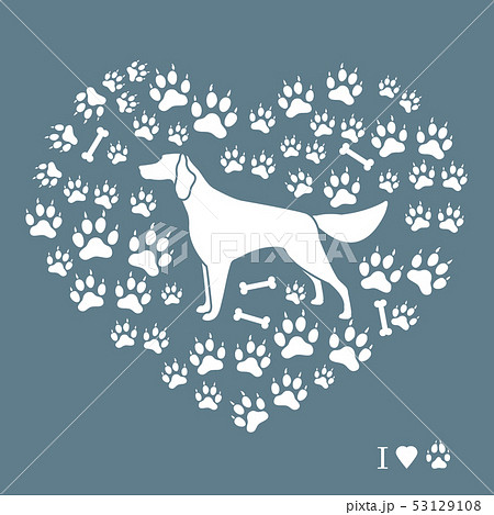 Setter silhouette on background of dog tracks and 53129108