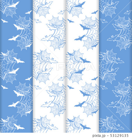 4 Halloween vector seamless pattern with web, bats 53129135