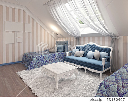 Luxury children's bedroom for two kids with twin 53130407