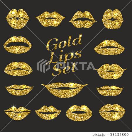 Lips set. Design element of glitters. 53132300