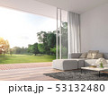 Modern living room with nature view 3d render 53132480