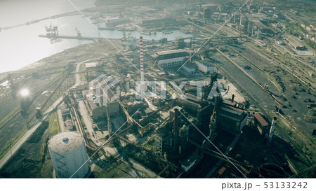 Aerial view of an industrial area near seaport 53133242
