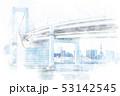 東京の都市風景 水彩画風 53142545