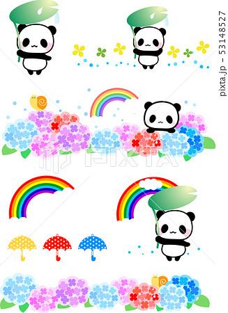 6月紫陽花と虹パンダのイラスト素材 パンダ動物かわいいフリーイラスト