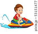 Cartoon little boy rides a jet ski 53151477