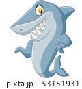 Cartoon shark waving on white background 53151931