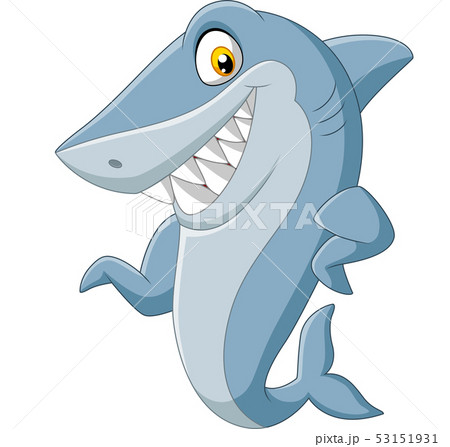 Cartoon shark waving on white background 53151931