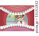 Cartoon dentist check tooth into open mouth of pat 53151932