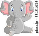 Cartoon cute baby elephant sitting 53151936