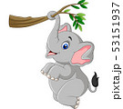 Cartoon funny elephant playing on a tree branch 53151937