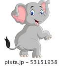 Cartoon funny elephant isolated on white backgroun 53151938