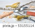 バードカービング。野鳥の木彫刻、野鳥彫刻。彩色済はウグイスです。※素人の製作途中の作品です。 53155114