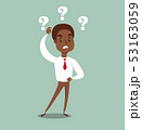 illustration of a clueless cartoon black african american businessman with three question marks 53163059