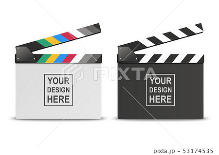 Vector 3d Realistic Opened White and Black Blank Movie Film Clap Board Icon Set Closeup Isolated on 53174535