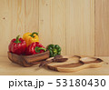 sweet peppers on wooden table background 53180430