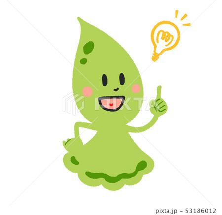 しずくのキャラクター・横向き・緑 (電球) 53186012