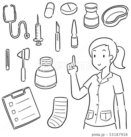 vector set of medical staff and medical equipment 53187916