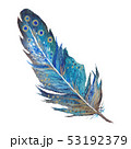 Boho Chic Watercolor Feather in turquoise blue color 53192379