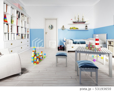 An empty children's playroom with a children's 53193650