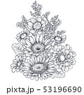 Floral composition. Bouquet with hand drawn flowers and plants. 53196690