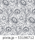 Seamless pattern with hand drawn flowers and plants 53196712
